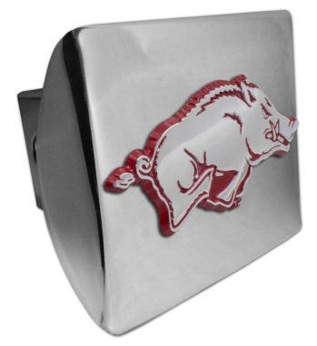 Arkansas Running Hog Red Emblem on Chrome Hitch Cover
