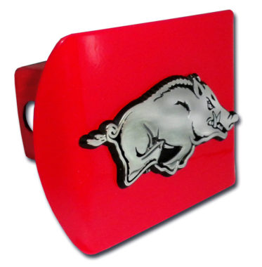 Arkansas Running Hog Emblem on Red Hitch Cover
