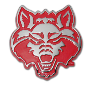 Arkansas State Red Wolf Red Chrome Emblem