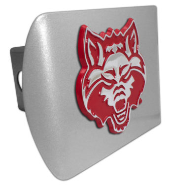 Arkansas State Red Wolf Emblem (w/ Color) on Brushed Hitch Cover