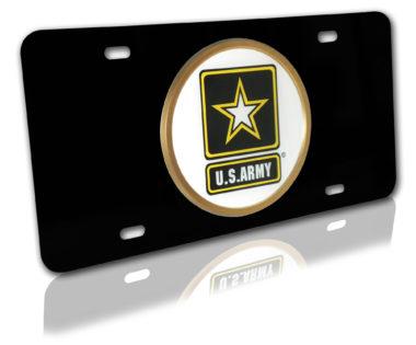 Army Seal Black License Plate