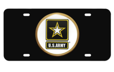 Army Seal on Black License Plate image