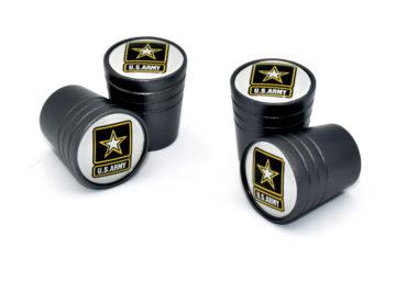 Army Valve Stem Caps - Black Smooth