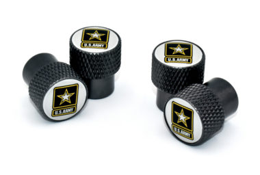 Army Valve Stem Caps - Black Knurling