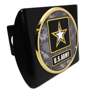 Army Gold Camo Seal Black Hitch Cover