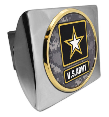 Army Gold Camo Seal Chrome Hitch Cover
