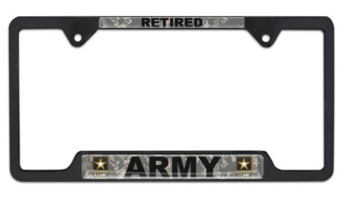 Full-Color Camo Army Retired Black Open License Plate Frame