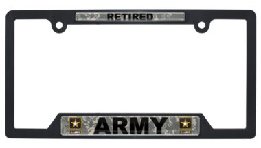 Full-Color Army Retired Camo Black Plastic Open License Plate Frame image