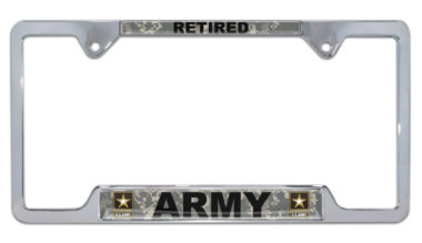 Full-Color Camo Army Retired Open License Plate Frame image