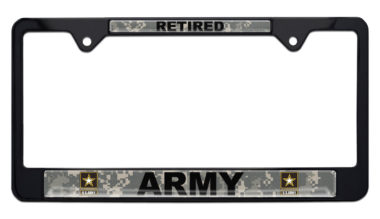 Full-Color Camo Army Retired Black License Plate Frame