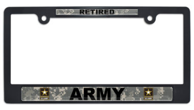 Full-Color Army Retired Camo Black Plastic License Plate Frame image