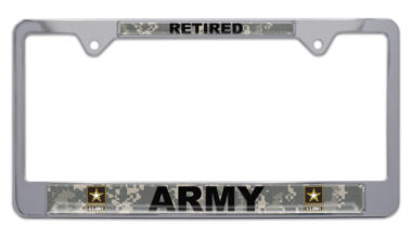 Full-Color Camo Army Retired License Plate Frame image