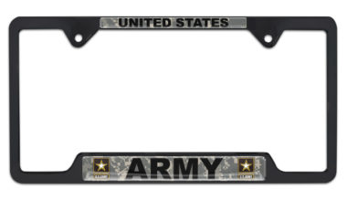 Full-Color Camo US Army Black Open License Plate Frame image