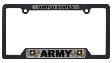 Full-Color US Army Camo Black Plastic Open License Plate Frame image