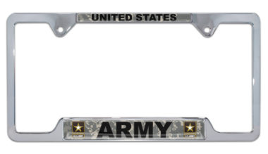 Full-Color Camo US Army Open License Plate Frame image
