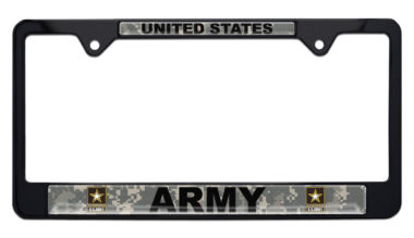 Full-Color Army US Camo Black License Plate Frame