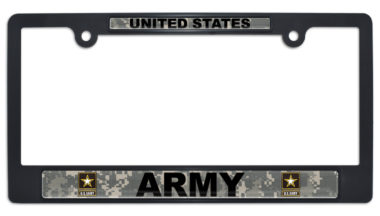 Full-Color US Army Camo Black Plastic License Plate Frame image