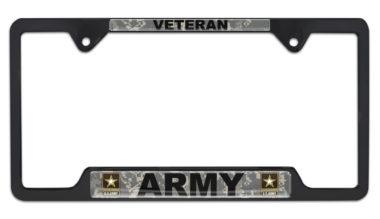 Full-Color Camo Army Veteran Black Open License Plate Frame