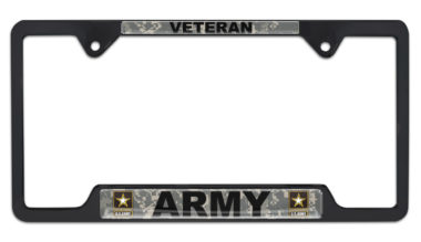 Full-Color Camo Army Veteran Black Open License Plate Frame image