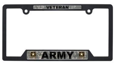 Full-Color Army Veteran Camo Black Plastic Open License Plate Frame image
