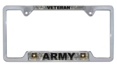 Full-Color Camo Army Veteran Open License Plate Frame