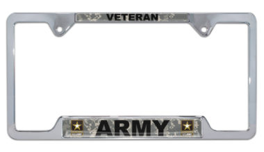 Full-Color Camo Army Veteran Open License Plate Frame image