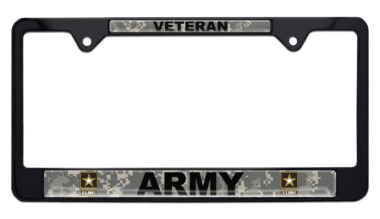 Army Veteran Camo Black License Plate Frame image