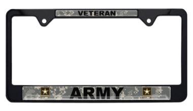 Full-Color Camo Army Veteran Black License Plate Frame
