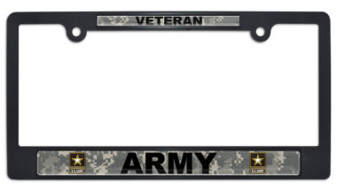 Full-Color Army Veteran Camo Black Plastic License Plate Frame