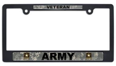 Full-Color Army Veteran Camo Black Plastic License Plate Frame