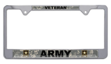 Full-Color Camo Army Veteran License Plate Frame image