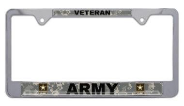 Full-Color Camo Army Veteran License Plate Frame image