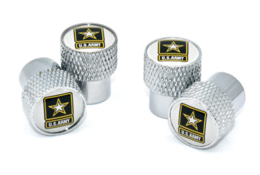 Army Valve Stem Caps - Chrome Knurling