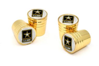 Army Valve Stem Caps - Gold Smooth