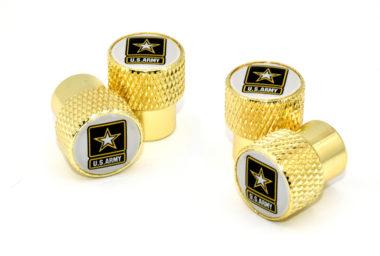 Army Valve Stem Caps - Gold Knurling
