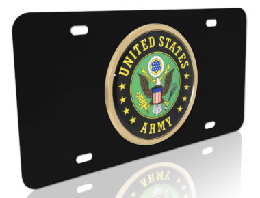 Army Eagle Seal Black License Plate