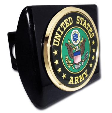 Army Eagle Emblem on Black Hitch Cover