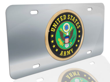 Army Eagle Seal on Stainless Steel License Plate
