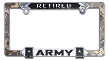 Army Retired 3D License Plate Frame
