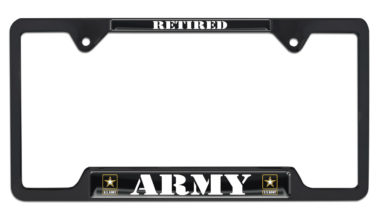 Full-Color Army Retired Black Open License Plate Frame