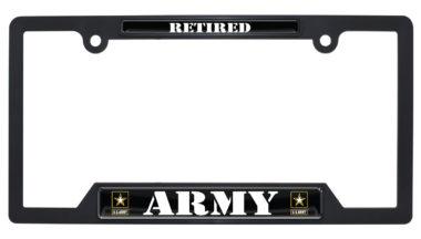 Full-Color Army Retired Black Plastic Open License Plate Frame