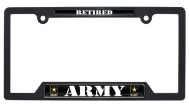 Full-Color Army Retired Black Plastic Open License Plate Frame image