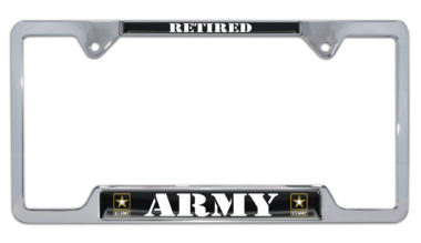 Full-Color Army Retired Open License Plate Frame