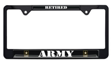 Full-Color Army Retired Black License Plate Frame image