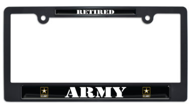 Full-Color Army Retired Black Plastic License Plate Frame