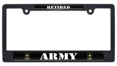 Full-Color Army Retired Black Plastic License Plate Frame image