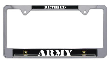 Full-Color Army Retired License Plate Frame image