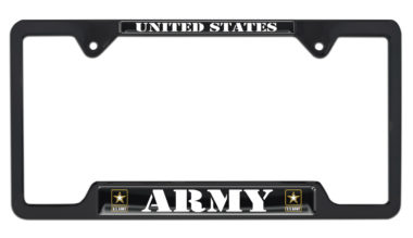 Full-Color Army US Black Open License Plate Frame