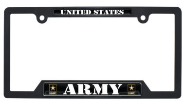 Full-Color US Army Black Plastic Open License Plate Frame image