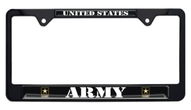 Full-Color Army US Black License Plate Frame